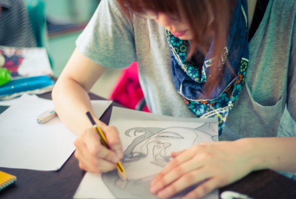 India: Hyo, from South Korea, working on an illustration